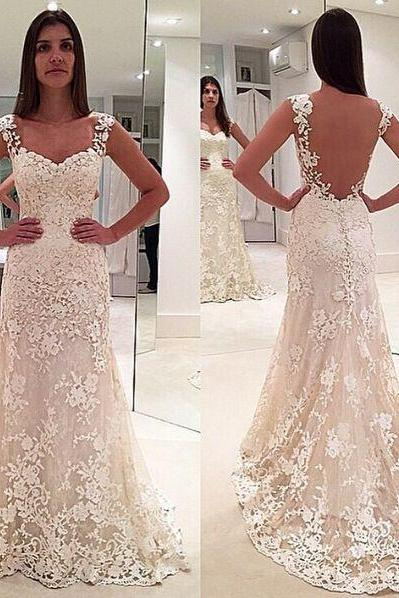 Sleeveless Floral Lace Appliqués Mermaid Wedding Dress Featuring Sheer Back