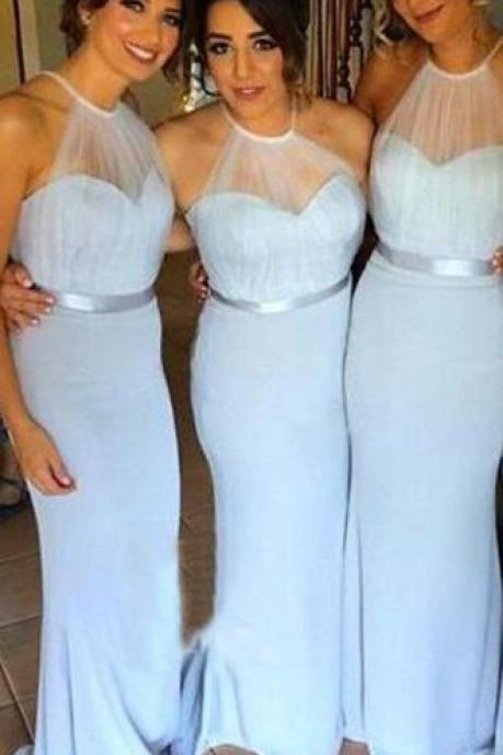 Light Blue Bridesmaid Dress, Halter Sheath Mermaid Prom Dresses,Charming Bridesmaid Dresses,Pretty Bridesmaid Gowns With Belt