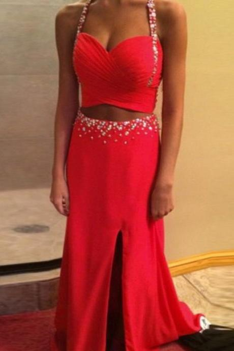 Spaghetti Straps Prom Dress,Red Prom Dresses,Long Evening Dress