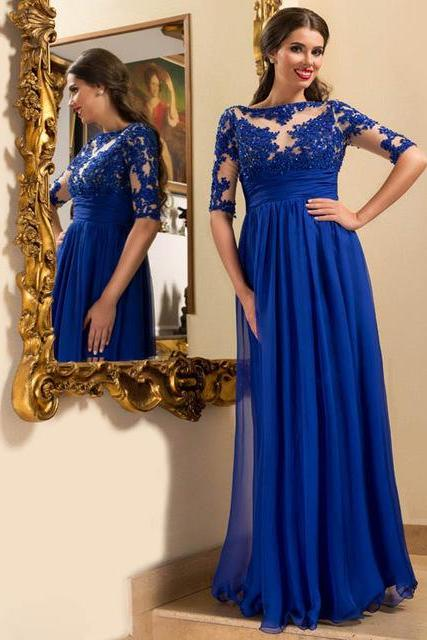 Half Sleeve Lace Prom Dress,Royal Blue Prom Dresses,Evening Dress