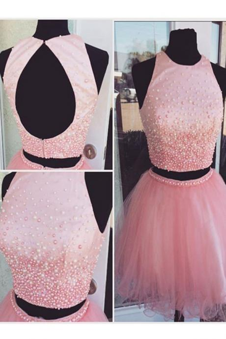 Pink Beading Homecming Dress,Tulle Short Prom Dresses,Homecoming Dresses,Open Back Two Pieces Homecming Dress,Cocktail Dresses