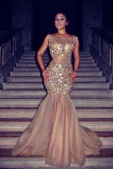 Champagne Prom Dresses,Mermaid Prom Gowns,Mermaid Prom Gown,Prom Dress,Evening Gonw With Beading For Teens