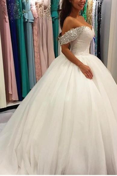 Custom Made White Crystal Embellished Off Shoulder Lace Princess Ball Gown Tulle Wedding Dress, Prom Dresses, Evening Wear