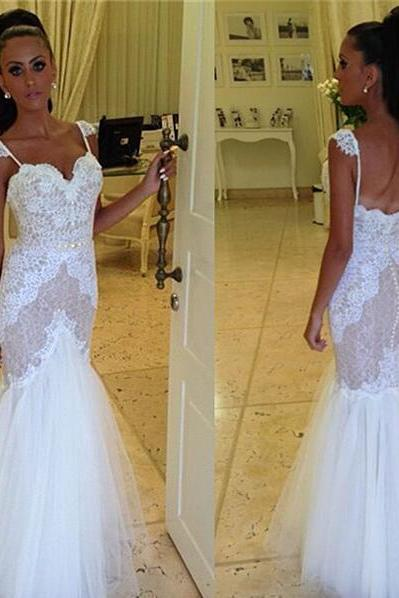 Wedding Dress,Wedding Gown,Lace Wedding Gowns,Ball Gown Bridal Dress,Fitted Wedding Dress,Corset Brides Dress,Vintage Wedding Gowns,Straps Wedding Dress