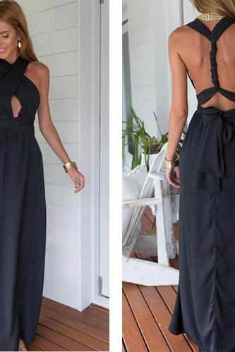Backless Prom Dresses,Chiffon Prom Dress,Black Prom Gown,Vintage Prom Gowns,Elegant Evening Dress,Cheap Evening Gowns,Party Gowns,Modest Prom Dress,Open Back Evening Gowns