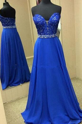 Lace Prom Gown,New Fashion Prom Dresses,Royal Blue Evening Gowns,Lace Party Dresses,Beaded Evening Gowns,Long Formal Dress For Teens