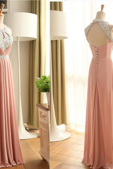 Chiffon Prom Dresses,Pink Evening Dress,Prom Dress,Prom Gown,Sexy Prom Dress,Long Prom Gown,Modest Evening Gowns for Teens