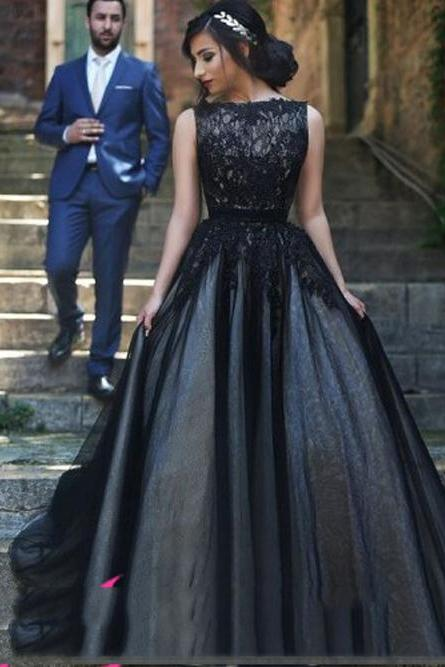 A-Line Real Made Prom Dress, Charming Formal Dresses,Black Evening Dresses On Sale