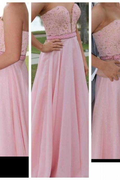 Fashion Prom Dresses,Pink Lace Prom Dress, Evening Gown For Wedding Party