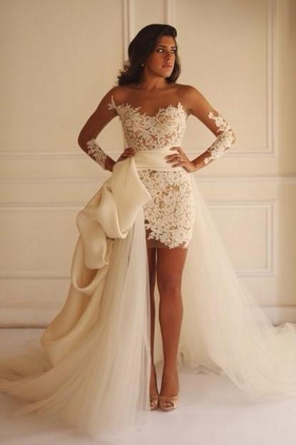 Sexy Illusion Long Sleeves White Lace Wedding Dress with Detachable Train