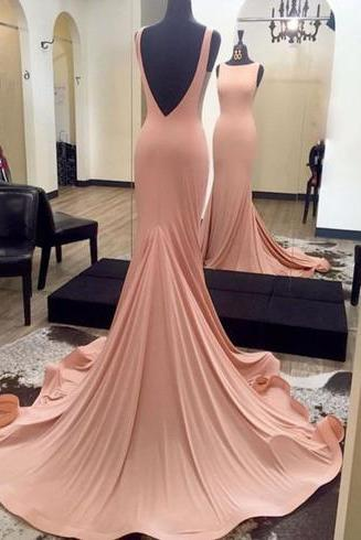 Simple Mermaid Long Pink Prom Dress Evening Dress