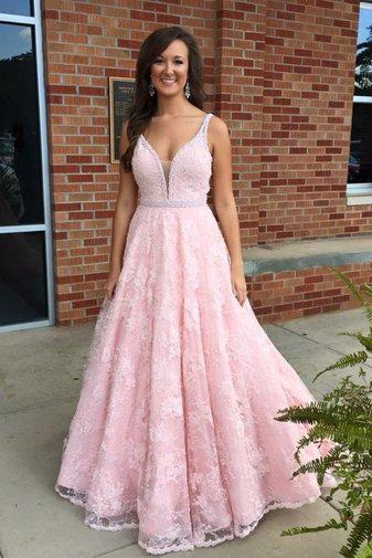 Fashion A-line Long Pink Lace Prom Dress Evening Dress