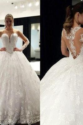 Lace Appliques Sweetheart Long Mesh Sleeves Floor Length Tulle Wedding Gown Featuring Illusion Open Back