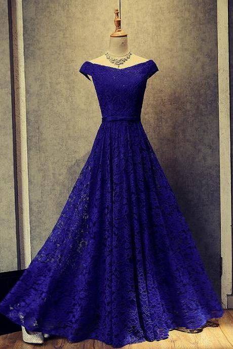 Custom Made Royal Blue Lace Prom Dress,Sexy Off The Shoulder Evening Dress,Floor Length Party Dress,High Quality