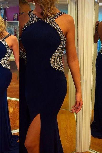 2017 Custom Made Royal Blue Prom Dress,Beading Evening Dress,Sexy Backless Party Gown,Side Sllit Pegeant Dress, High Quality