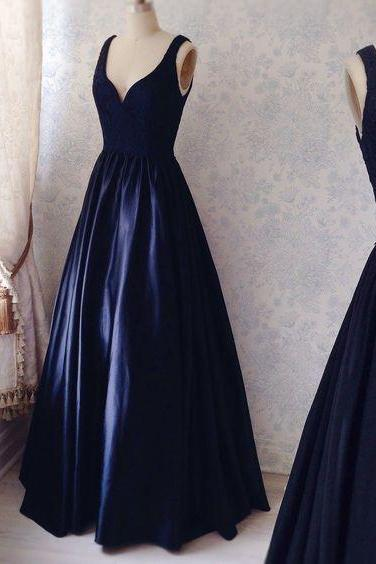 Navy Simple Prom Dresses, Satin Prom Dress, Sexy V-neck Prom Gown, Elegant Lace Prom Dress