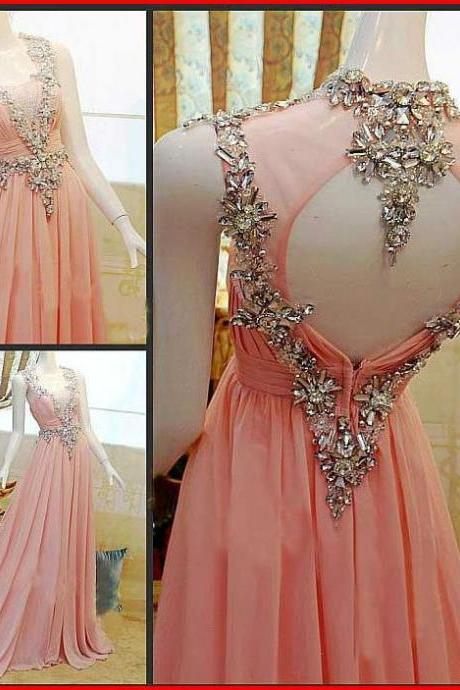 Charming Prom Dress,Chiffon Prom Dress,A-Line Prom Dress,Strapless Prom Dress,Crystal Prom Dresses