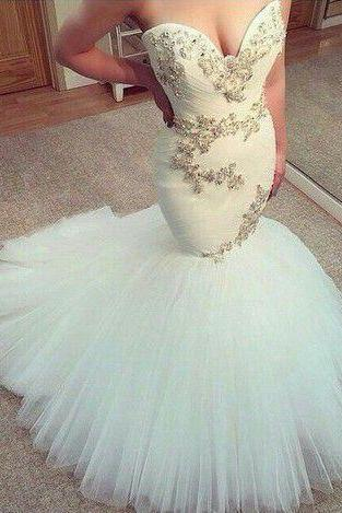 White Wedding Dress,mermaid long Wedding dress,sweetheart wedding dress,Tullr Bridal Dresses