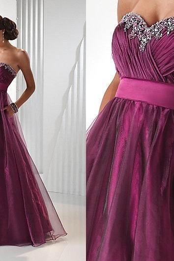 Charming Prom Dress,Organza Prom Dress,Beading Prom Dress,Sweetheart Prom Dress,A-Line Prom Dresses