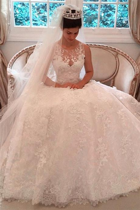 Elegant Wedding Dress,Lace A-Line Wedding Dresses Appliques Sleeveless Wedding Dress,Bridal Gowns