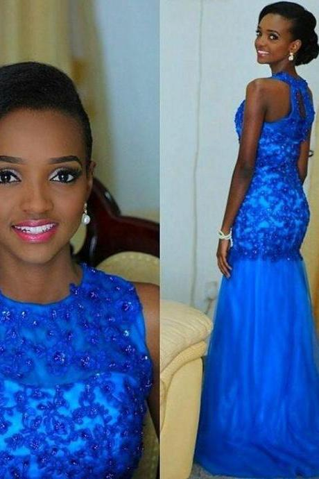 Long Lace Appliques Formal Dress, Chiffon Prom Party Gown Beaded Sequins Royal Blue Mermaid Evening Dresses