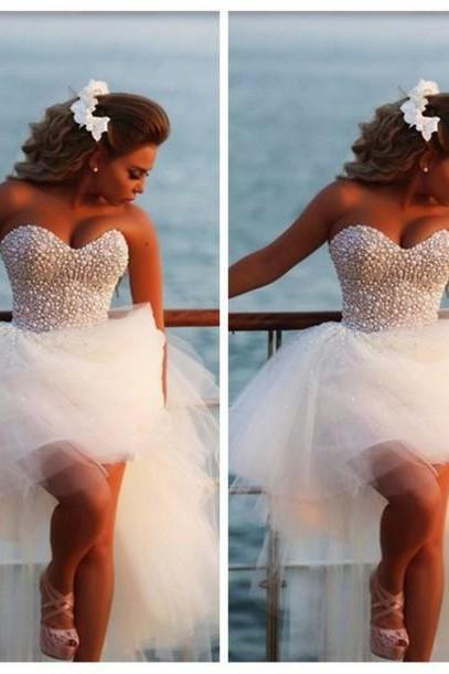 Beach White Wedding Dress,Ivory sweetheart wedding Dresses,gowns Robe De Mariage pearls wedding dress short front long back