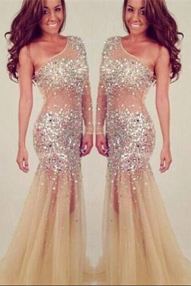 One Shoulder Beading Prom Dresses,Party Dress Evening Dress Luxury Women Prom Dress