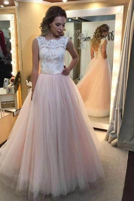 Pink Tulle Princess Prom Gown, A Line Formal Gown,Low Back Prom Dress With Lace Top