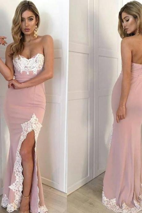 White Lace Appliqués Pink Sweetheart Floor Length Mermaid Formal Dress Featuring High Slit, Prom Dress