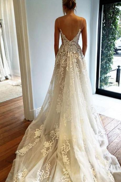 Wedding Dress,Wedding Dress 2017,Fashion Wedding Dress,Modest Wedding Dress,Sexy Deep V neck Wedding Dress,Open Back Lace Wedding Dress,Long Train Wedding Gown
