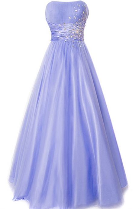 Strapless Princess Ball Gown Prom Dress,Tulle Prom Dresses with Gems
