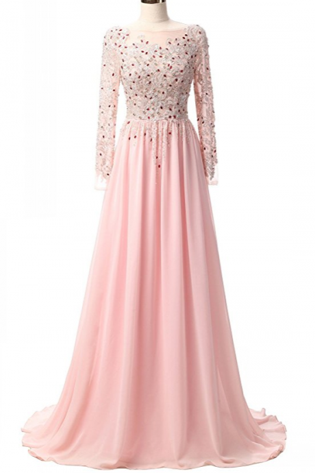 Lace Appliques Pink Prom Dress, Evening Gowns Beaded Prom Dresses with Sleeves Long Formal Dress
