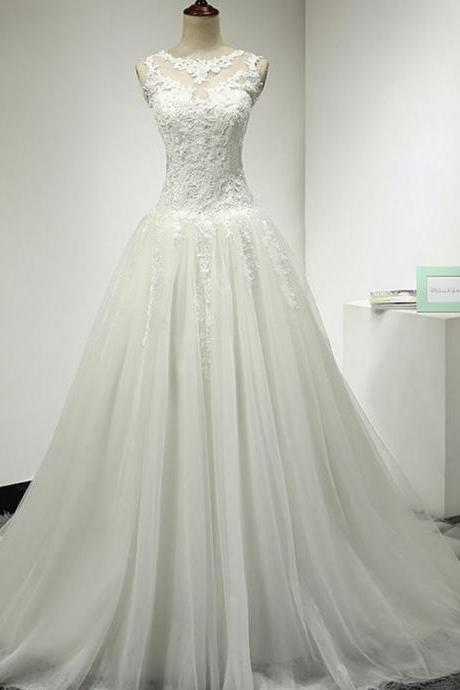 New Lace Wedding Dress,Appliques Wedding Dresses,Tulle Bridal Dresses,See Through Corset New Arrival Formal Dresses Party Gowns