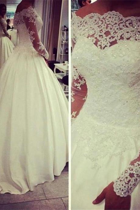 Satin Wedding Dress,Full Sleeve Wedding Dresses,Ball Gown Wedding Dress,Lace Bridal Dresses