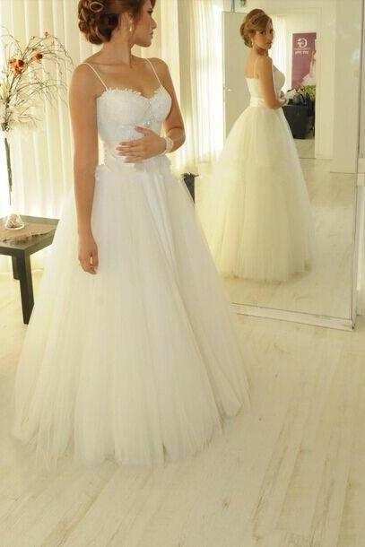 White Sweetheart Wedding Dress,Tulle Wedding Dresses Elegant Appliques Spaghetti Strap Princess Wedding Gown