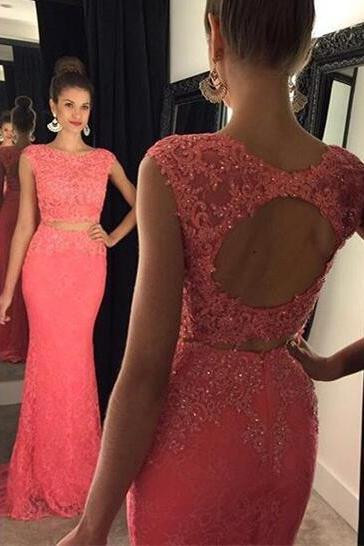 Lace and Beaded Embellished Two-Piece Formal Dress Featuring Crew Neck Cap Sleeves Crop Top with Open Back and Floor Length Trumpet Skirt