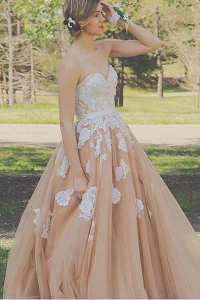 White and Champagne Prom Dress,Sleeveless Prom Dress,A-line Prom Dress,Lace Prom Dress,Long Prom Dress,Party Dress