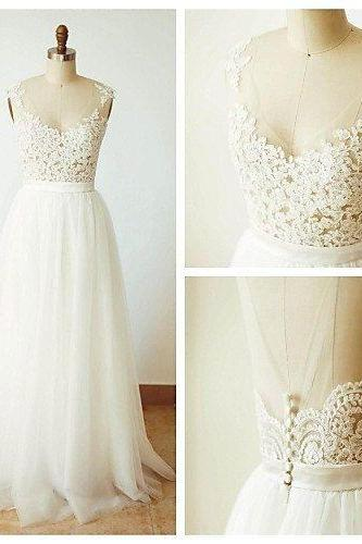 Lace Wedding Dress,A Line Wedding Dresses,Tulle Bridal Dresses White Tulle Evening Party Dress