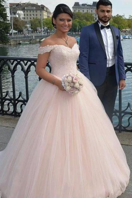 Long Wedding Dresses,Pale Pink Ball Gown Wedding Dresses, Off Shoulder Appliques Bridal Dresses,Tulle Wedding Dress,Sexy Bridal Dress