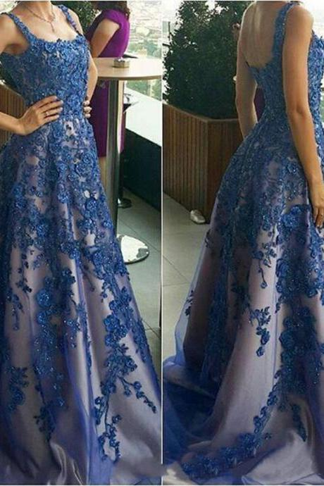 Lace Applique Prom Dress,Boat Neckline Elegant Royal Blue Rhinestones Prom Gowns Vestido Renda Vestidos De Festa
