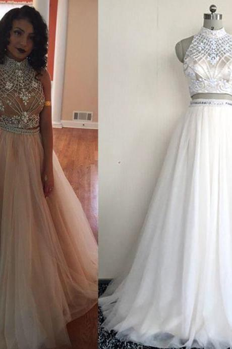 Sleeveless Two Piece Prom Dress, High Neck Tulle Prom Dress,2 Piece Prom Dress,Long Evening Dress,Evening Dresses