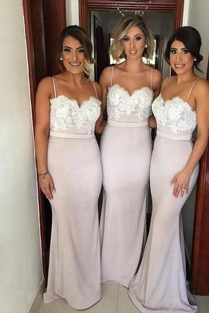 Charming Spaghetti Straps Bridesmaid Dress,Mermaid Lace Bridesmaid Dresses,Sexy Bridemaid Dress