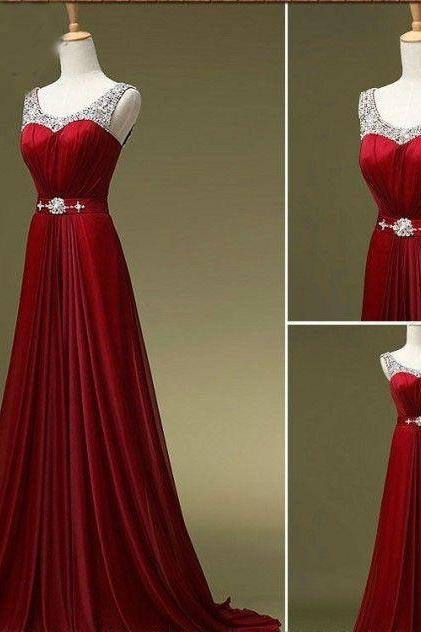 Beaded Embellished Scoop Neck Sleeveless Red Chiffon Floor Length A-Line Prom Dress Featuring Beaded Embellished Belt