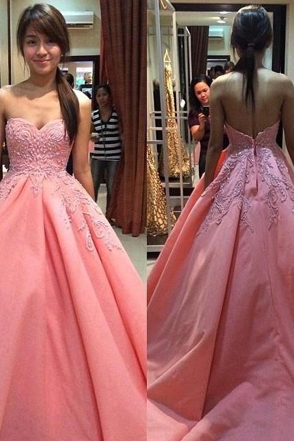 Charming Prom Dress, Pink Appliques Prom Dresses,Ball Gown Prom Dress,Sweetheart Quinceanera Dress, Prom Dresses