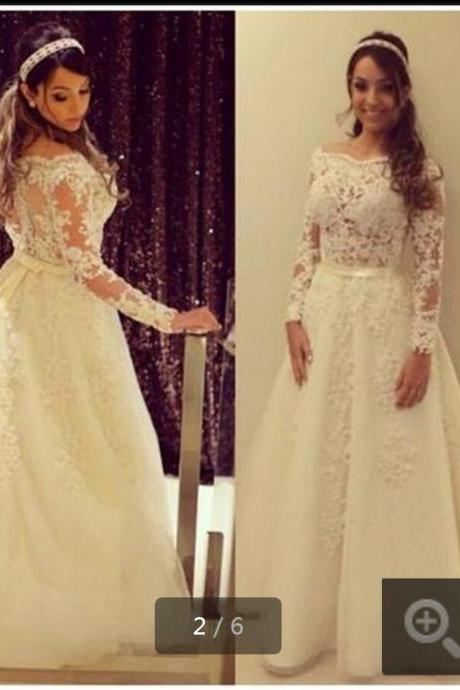 New White Lace Wedding Dress,appliques A Line Wedding Dresses, Long Sleeve Sheer Back Bridal Gown Sexy Formal Wedding Gowns