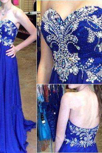 High Quality Prom Dress,A-Line Prom Dress,Chiffon Prom Dress,Sweetheart Prom Dress, Brading Prom Dresses