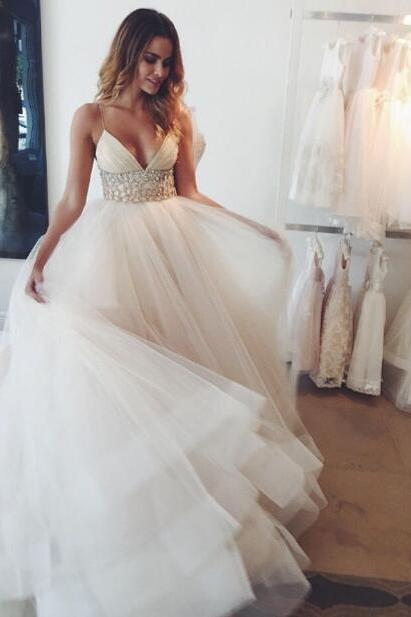 Beautiful Beach Wedding Dress,Sexy A line Wedding Dresses,Spaghetti Strap Bridal Dresses,Ivory Tulle Wedding Dress