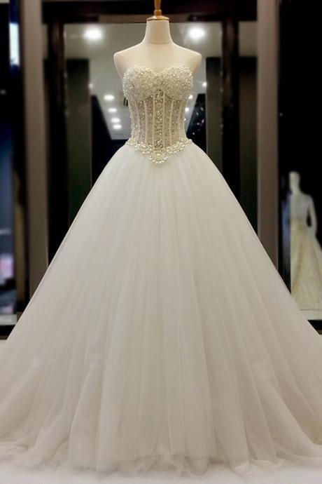Strapless Sweetheart Pearl Beaded Organza Ball Gown Wedding Dress with Corset Bodice and Long Train
