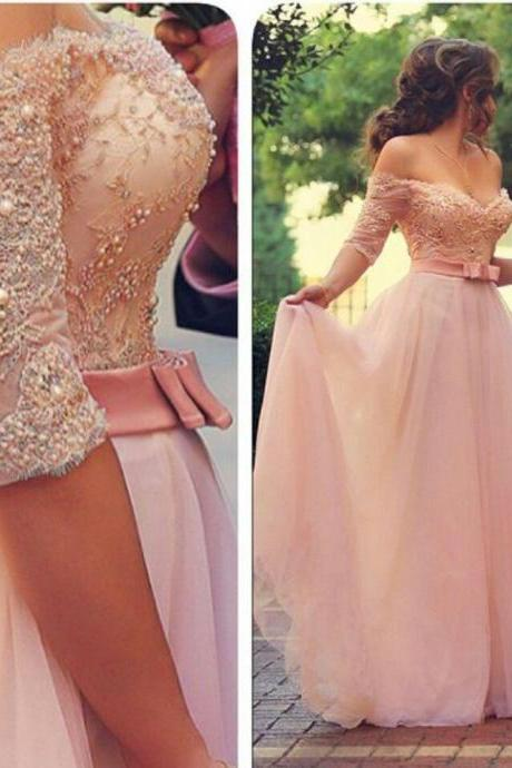 Pink Lace Prom Dress, Evening Dresses