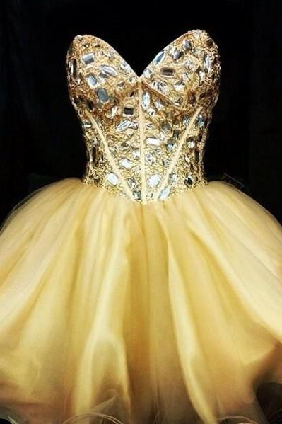 Sweetheart Homecoming Dress,Crystal Beaded Homecoming Dresses,Short Prom Dress,Prom Gown